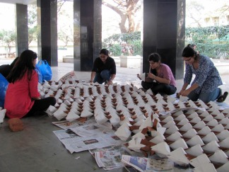 Arjun_rathi_cellular_fission_origami_folding_at_kamla_raheja_college_juhu