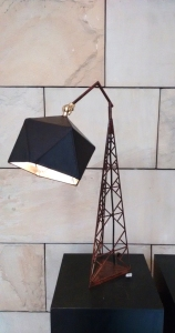 Arjun Rathi - Geodesic Lamp I - Hydro Tower Lamp - Weathered Steel, Brass, Leather