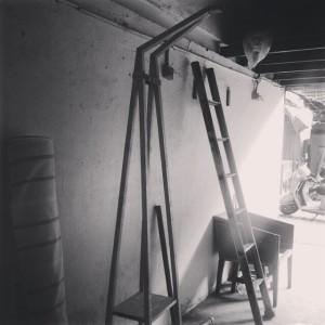 Arjun Rathi - Geodesic Lamp IV - Ladder Lamp - Maple Wood, Brass, Linen Process 1